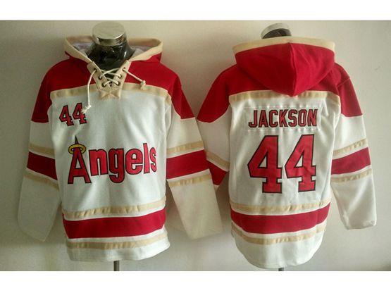 Mens Mlb Los Angeles Angels #44 Reggie Jackson White Hoodie Jersey