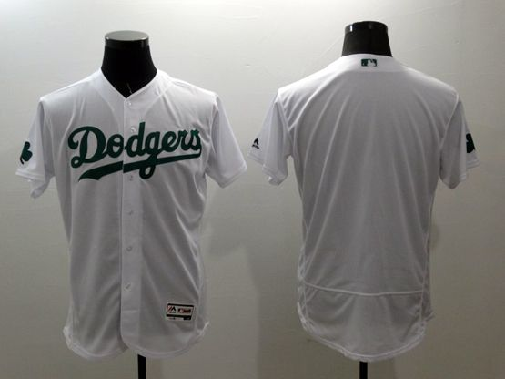 mens majestic los angeles dodgers blank white green Flex Base collectio jersey