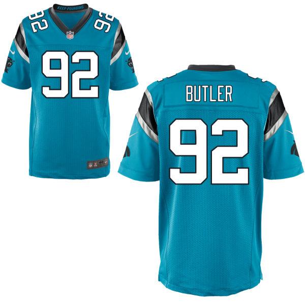 Mens   Nfl Carolina Panthers #92 Vernon Butler Blue Elite Jersey
