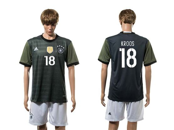 Mens Soccer Germany National Team #18 Kroos Green Eurocup 2016 Away Jersey