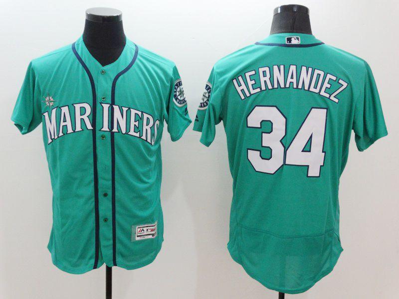 mens majestic seattle mariners #34 felix hernandez green Flex Base jersey