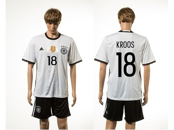 Mens Soccer Germany National Team #18 Kroos White Eurocup 2016 Home Jersey