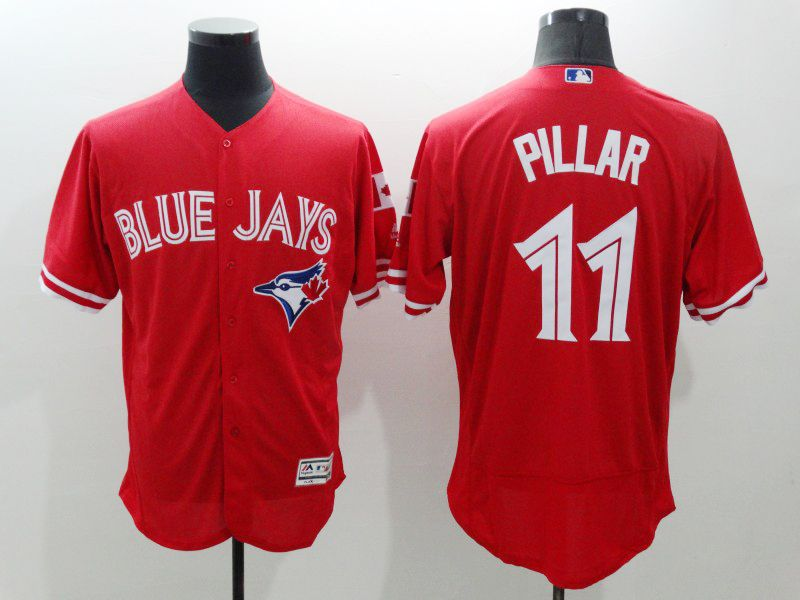 Mens Majestic Toronto Blue Jays #11 Kevin Pillar Red Flexbase Collection Jersey