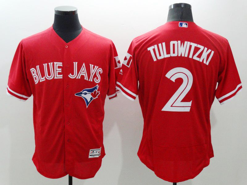 mens majestic toronto blue jays #2 troy tulowitzki red Flex Base jersey
