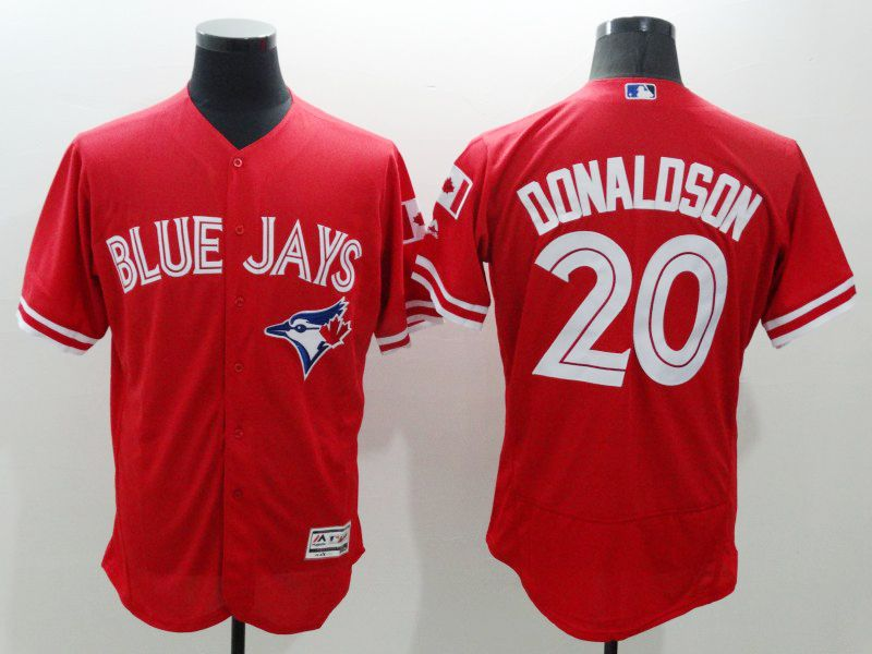 mens majestic toronto blue jays #20 josh donaldson red Flex Base jersey
