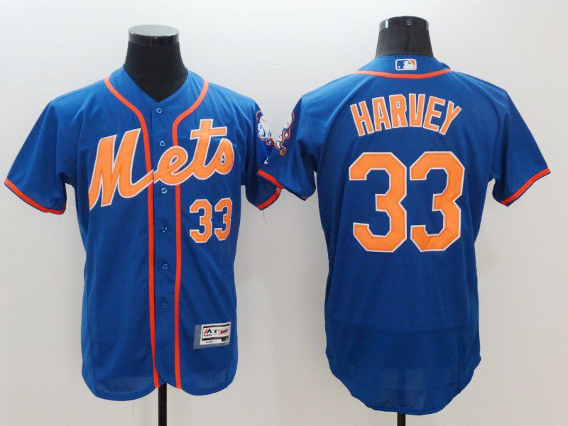 Mens Majestic New York Mets #33 Matt Harvey Blue Flexbase Collection Jersey