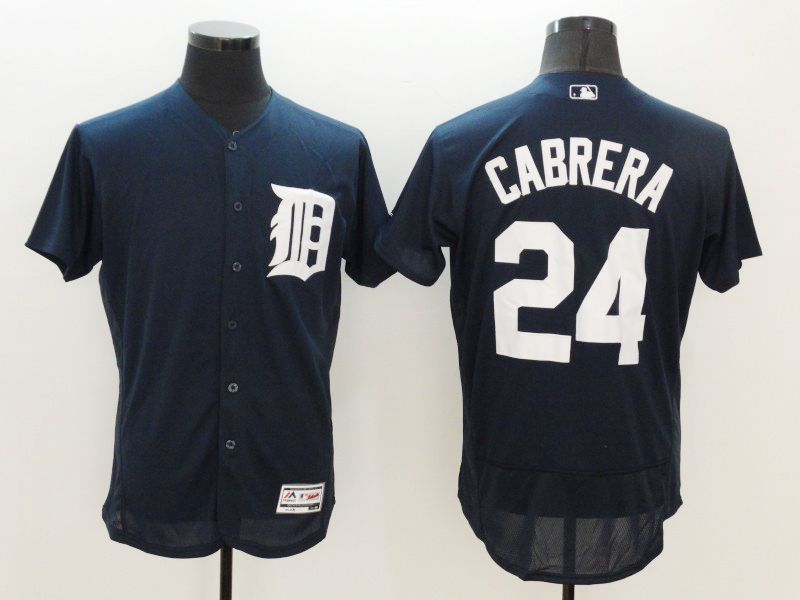 mens majestic detroit tigers #24 miguel cabrera dark blue Flex Base jersey