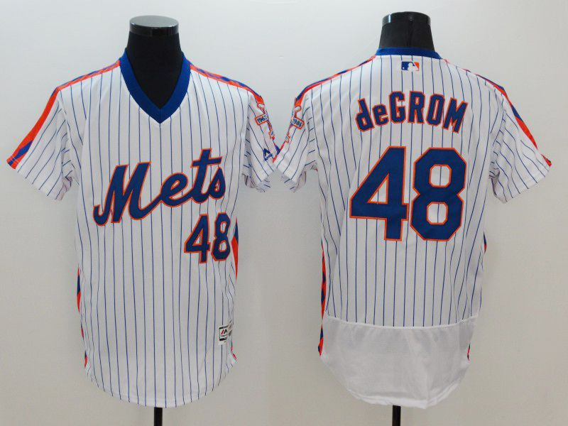 mens majestic new york mets #48 jacob degrom white stripe pullover Flex Base jersey