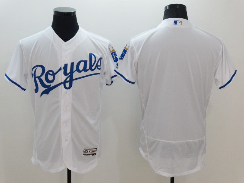 mens majestic kansas city royals blank white Flex Base jersey