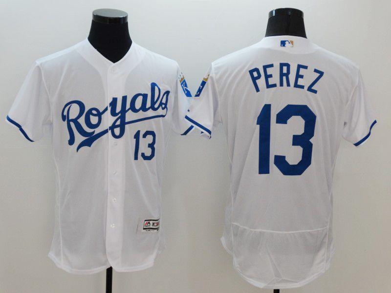 Mens Majestic Kansas City Royals #13 Salvador Perez White Flexbase Collection Jersey