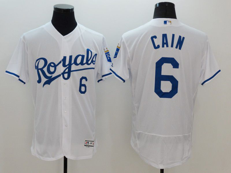 mens majestic kansas city royals #6 lorenzo cain white Flex Base jersey