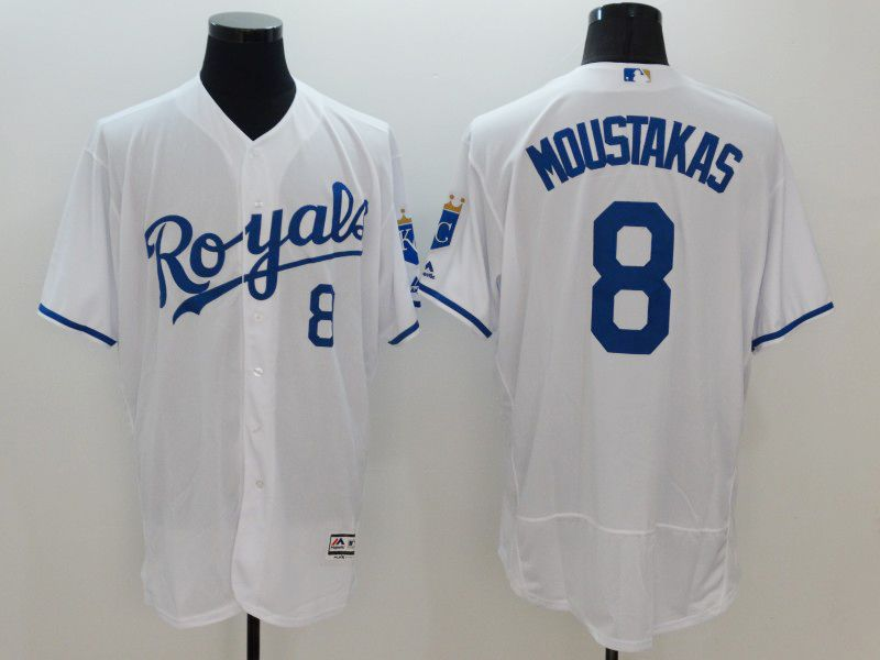 mens majestic kansas city royals #8 mike moustakas white Flex Base jersey