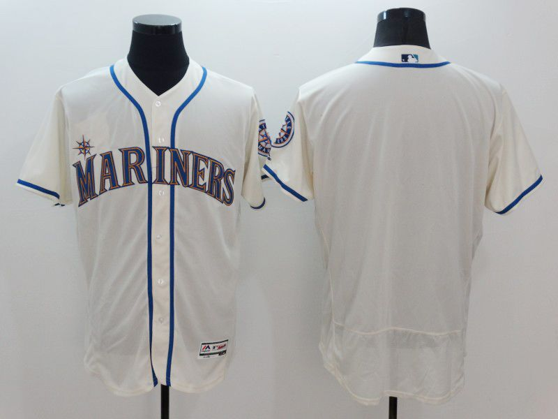 mens majestic seattle mariners blank cream Flex Base jersey