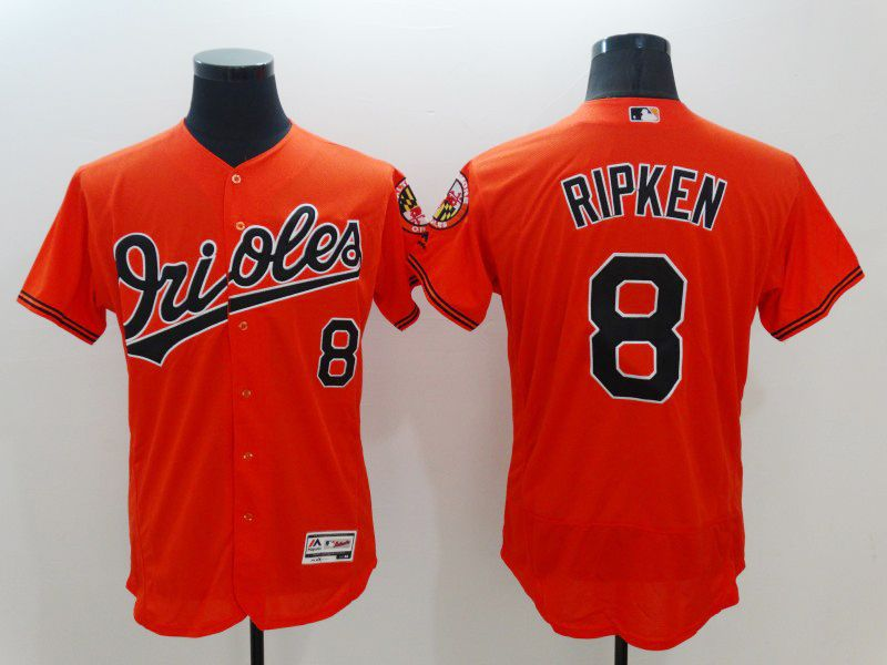 mens majestic baltimore orioles #8 cal ripken jr orange Flex Base jersey
