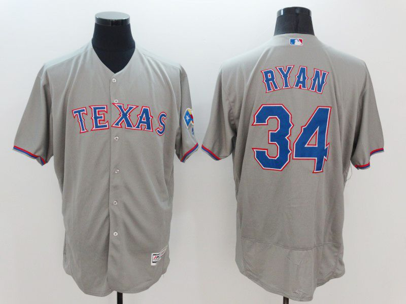 mens majestic texas rangers #34 nolan ryan gray Flex Base jersey