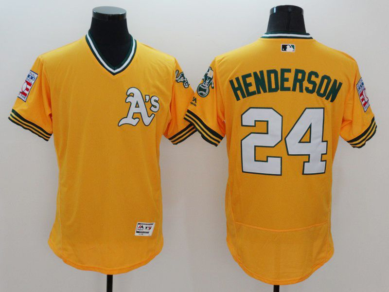 mens majestic oakland athletics #24 ricky henderson yellow Flex Base jersey