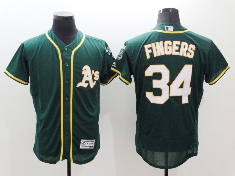 mens majestic oakland athletics #34 rollie fingers green Flex Base jersey
