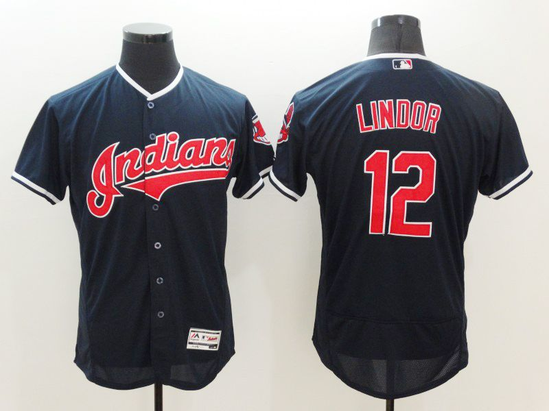 mens mlb cleveland indians #12 francisco lindor navy blue Flex Base jersey