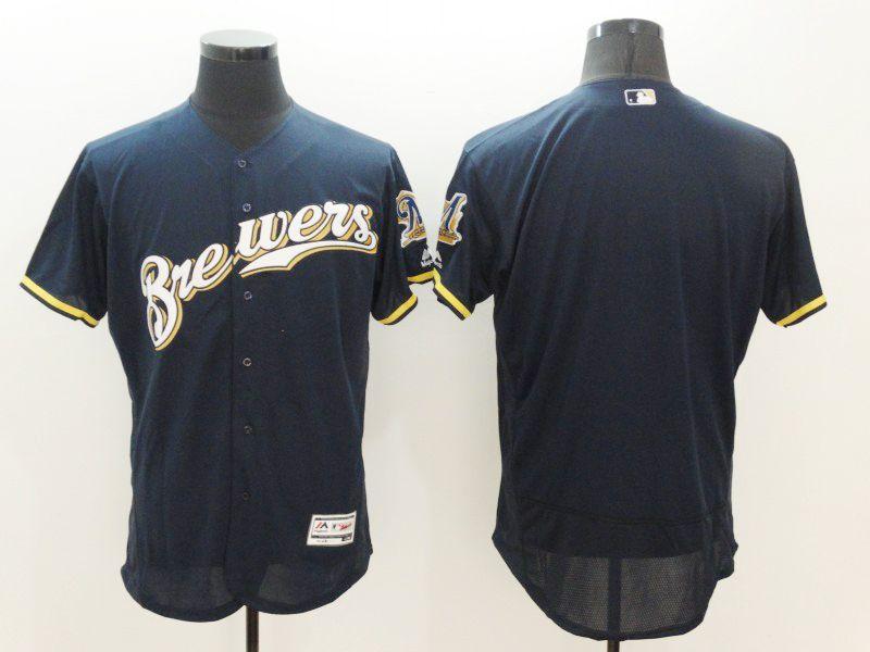 Mens Majestic Milwaukee Brewers Blank Dark Blue Flexbase Collection Jersey