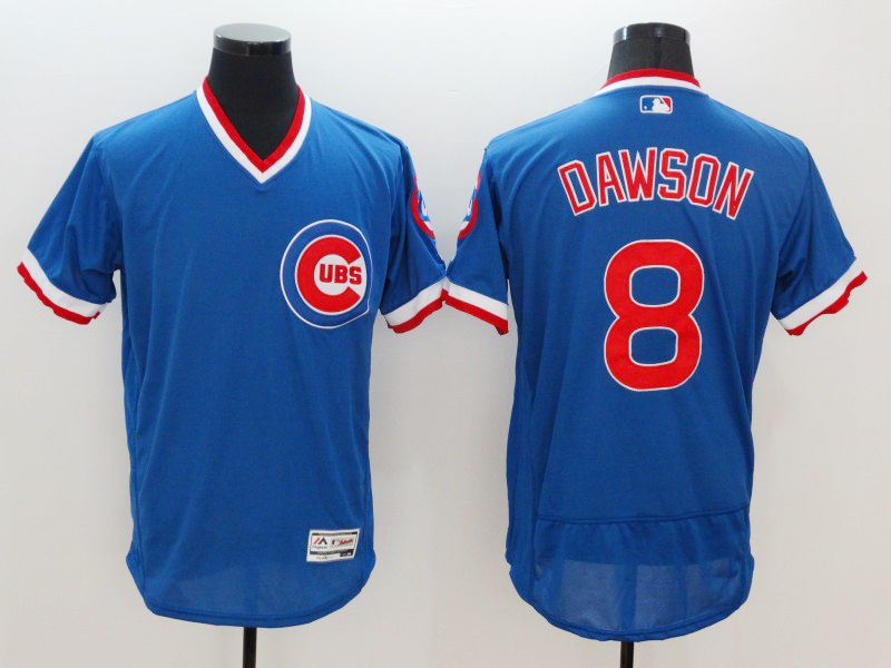 mens majestic chicago cubs #8 andre dawson blue pullover Flex Base jersey