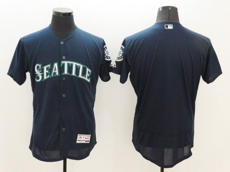 mens majestic seattle mariners blank nvay blue Flex Base jersey