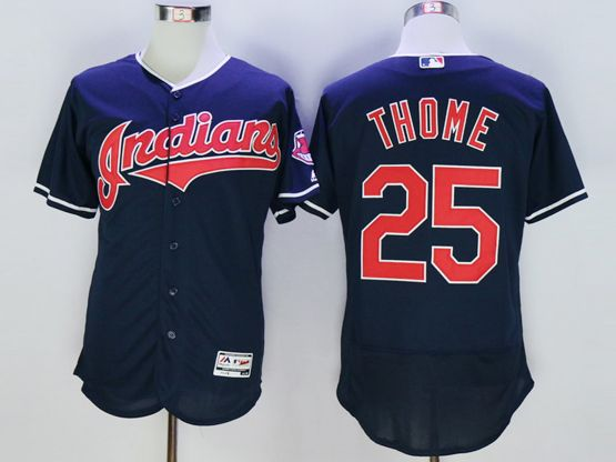 Mens Majestic Cleveland Indians #25 Jim Thome Navy Blue Flexbase Collection Jersey