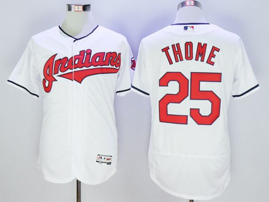 mens majestic cleveland indians #25 jim thome white Flex Base jersey