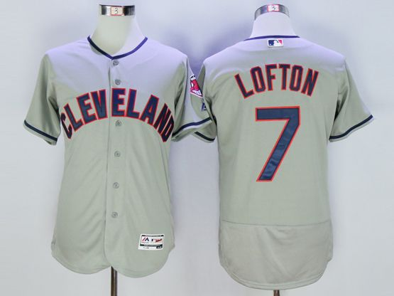 mens majestic cleveland indians #7 kenny lofton gray Flex Base jersey