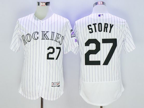 Mens Majestic Colorado Rockies #27 Trevor Story White Stripe Flexbase Collection Jersey
