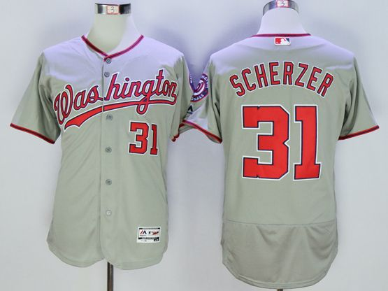 mens mlb washington nationals #31 max scherzer gray Flex Base jersey