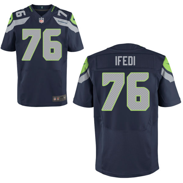 Mens Nfl Seattle Seahawks #76 Germain Ifedi Blue Elite Jersey