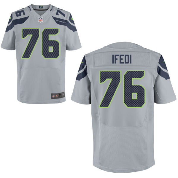 Mens Nfl Seattle Seahawks #76 Germain Ifedi Gray Elite Jersey