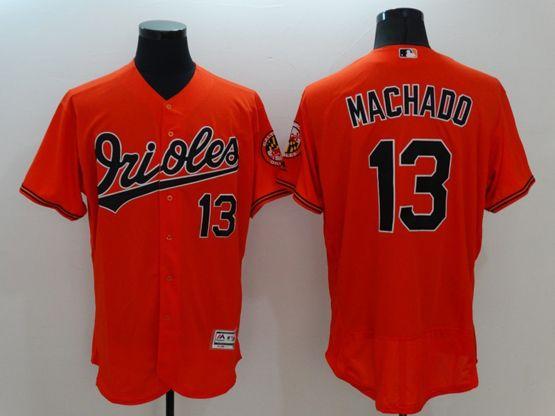 Mens Majestic Baltimore Orioles #13 Manny Machado Orange Flexbase Collection Jersey