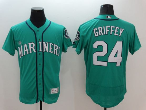 mens majestic seattle mariners #24 ken griffey jr green Flex Base jersey