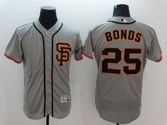 Mens Majestic Pittsburgh Pirates #25 Bonds Gray Flexbase Collection Jersey