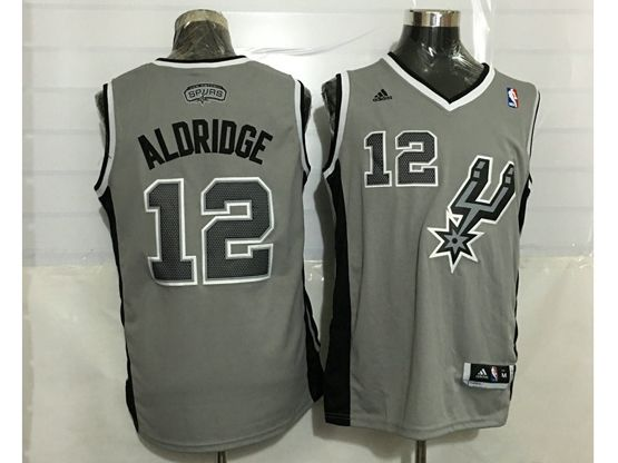 Mens Nba San Antonio Spurs #12 Aldridge Gray Revolution 30 Jersey (p)
