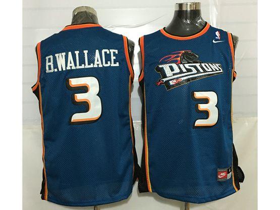 Mens Nba Detroit Pistons #3 Ben Wallace Blue Mesh Jersey