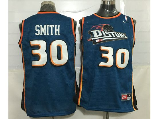 Mens Nba Detroit Pistons #30 Smith Blue Mesh Jersey