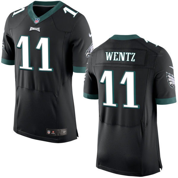 Mens   Philadelphia Eagles #11 Carson Wentz Black Elite Jersey