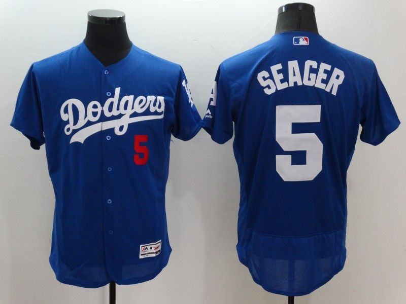 Mens Majestic Los Angeles Dodgers #5 Corey Seager Blue Flexbase Collection Jersey