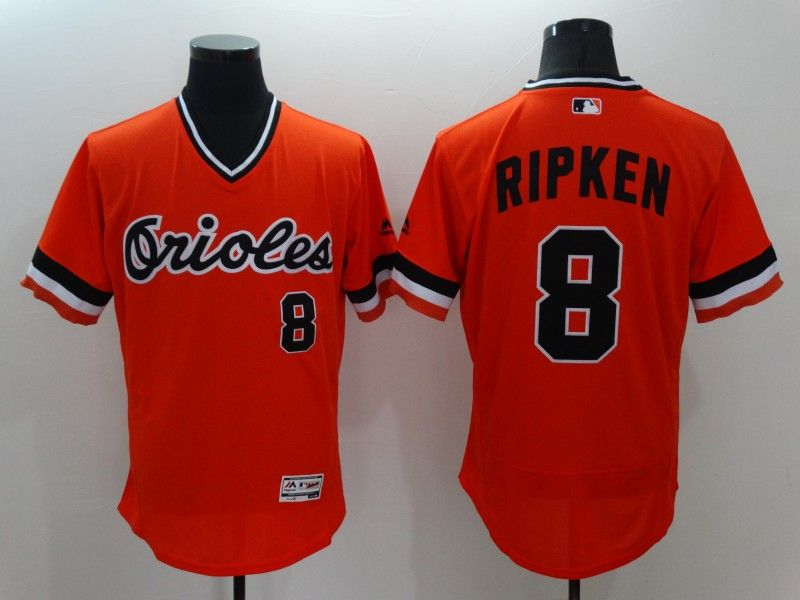 mens majestic baltimore orioles #8 cal ripken jr orange pullover Flex Base jersey