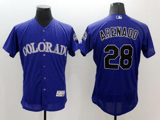 Mens Majestic Colorado Rockies #28 Nolan Arenado Purple Flexbase Collection Jersey