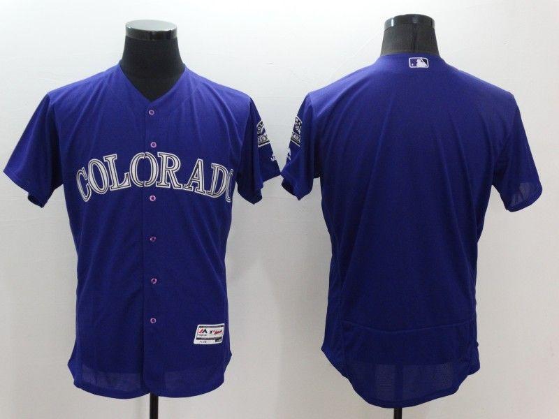 Mens Majestic Colorado Rockies Blank Purple Flexbase Collection Jersey