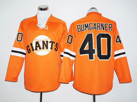 Mens Mlb San Francisco Giants #40 Madison Bumgarner Orange Long Sleeve  Jersey