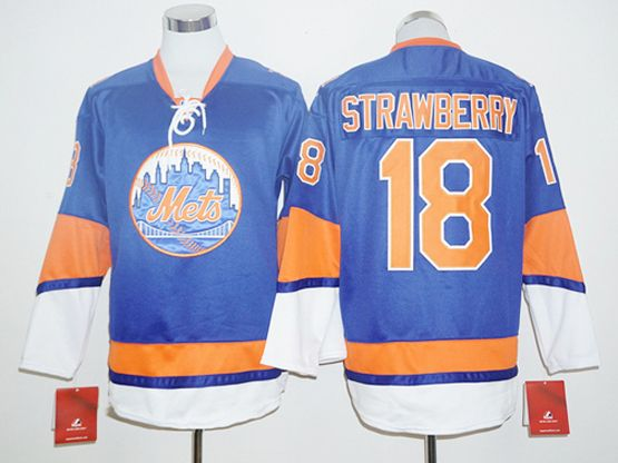 Mens Mlb New York Mets #18 Darryl Strawberry Blue Long Sleeve Jersey