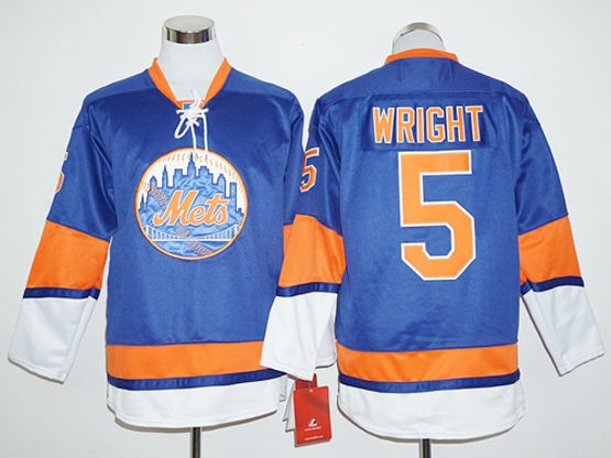 Mens Mlb New York Mets #5 David Wright Blue Long Sleeve Jersey