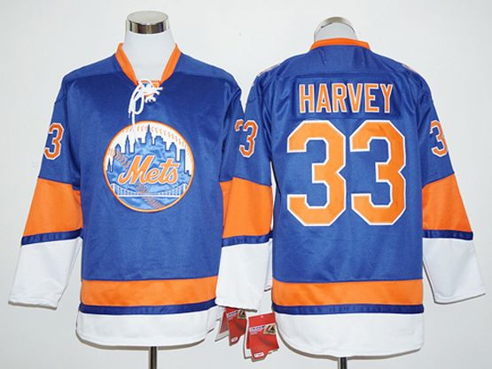 Mens Mlb New York Mets #33 Matt Harvey Blue Long Sleeve Jersey