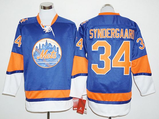 Mens Mlb New York Mets #34 Noah Syndergaard Blue Long Sleeve Jersey