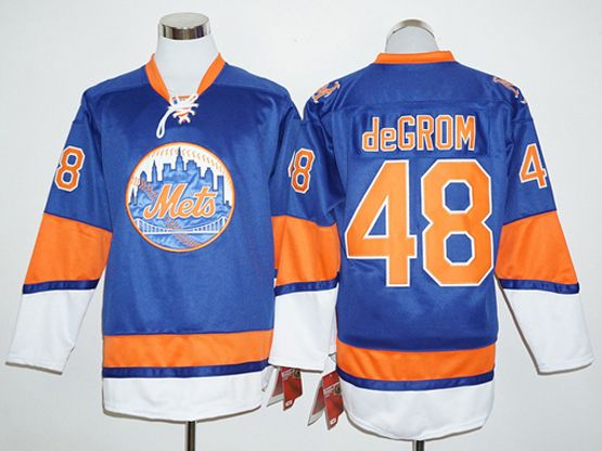 Mens Mlb New York Mets #48 Jacob Degrom Blue Long Sleeve Jersey