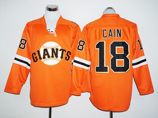 Mens Mlb San Francisco Giants #18 Matt Cain Orange Long Sleeve  Jersey